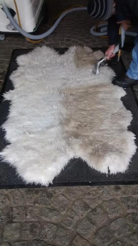 Sheepskin Rug cleaning - showing before and after areas on a sheepskin rug - effective rug cleaning by Donegal Cleaning Services, Ireland